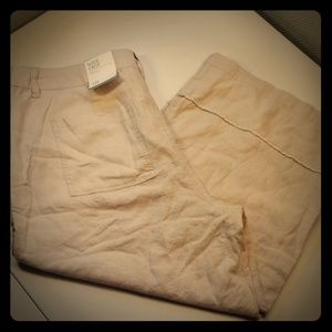 3/$50 - *NEW* Wide-Leg Cropped Linen Pants